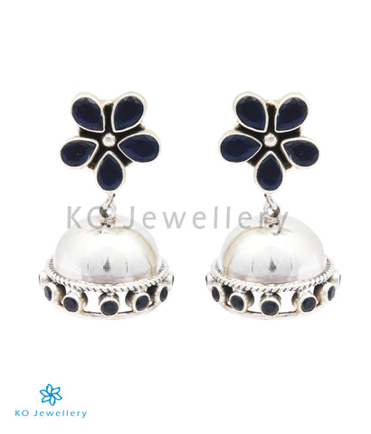 The Param Silver Gemstone Jhumkas (Blue)
