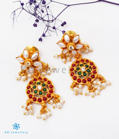 The Uthika Silver Kempu Earrings (Red/Pearl)