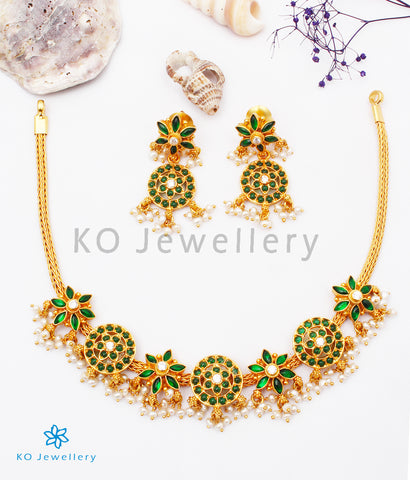 The Uthika Silver Kempu Necklace (Green)
