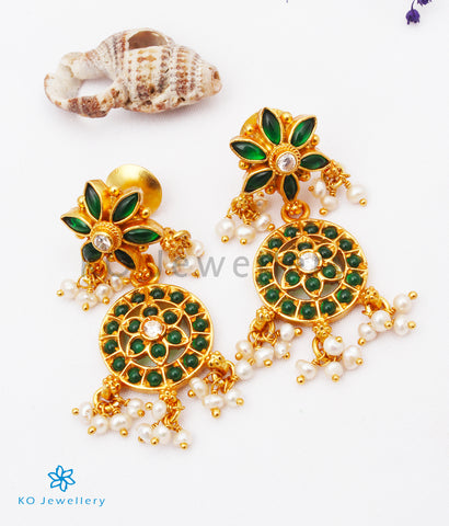 The Uthika Silver Kempu Earrings (Green)