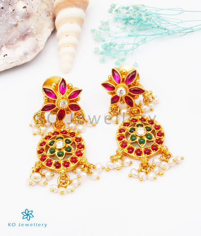 The Uthika Silver Kempu Earrings (Red)