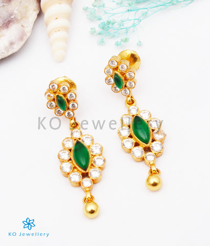 The Santushti Silver Earrings (Green)