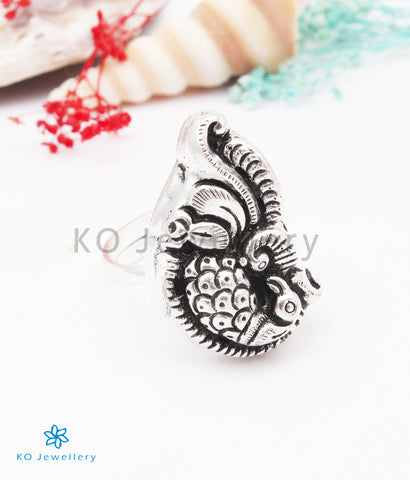 The Mayuraka Silver Peacock Finger Ring