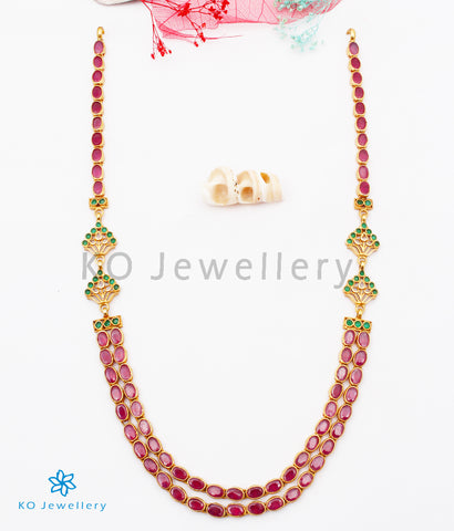 The Abhra Silver Layered Necklace (Red)