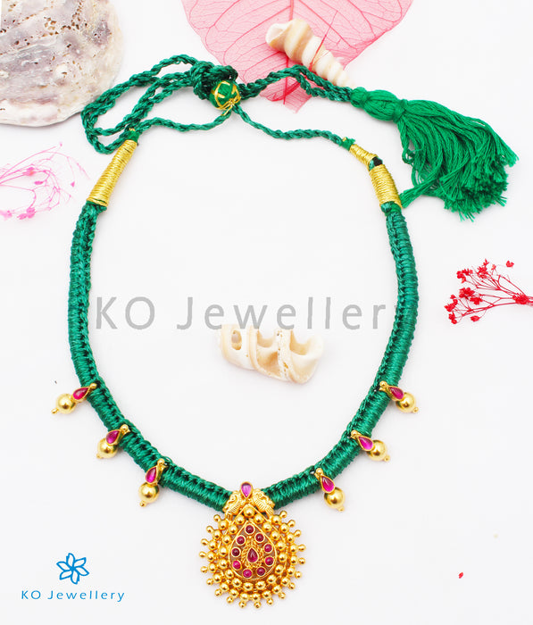 The Aradhana Silver Thread Necklace (Green)