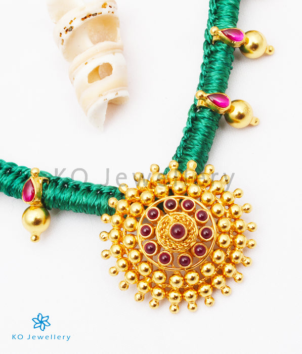The Chakratiya Silver Thread Necklace (Green)