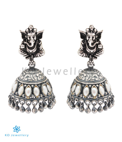 The Mandaka Silver Ganesha Jhumka (Oxidised)