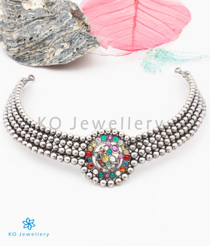 The Bhamini Silver Navratna Choker Necklace