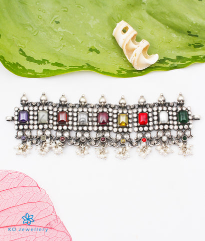 The Khyati Silver Navratna Choker Necklace