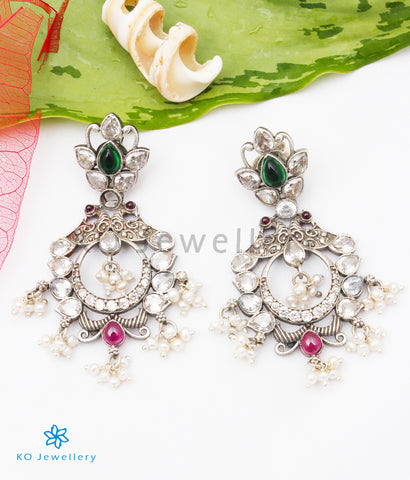 The Rudrani Silver Peacock Earrings