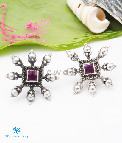 The Khyati Silver Earstuds (Red)