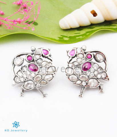 The Shreya Silver Peacock Earstuds(White/Red)