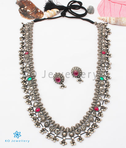 The Kolhapuri Saaj Silver Necklace(Oxidised)