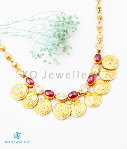 The Prarthana Silver Coin Necklace (Red)