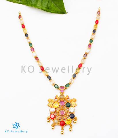 The Paritosh Silver Peacock Navaratna Necklace