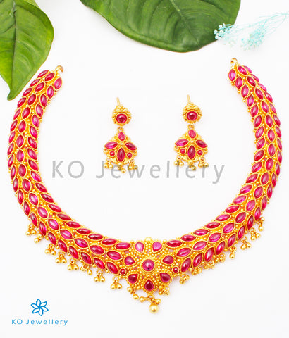 The Ahana Silver Kempu Necklace (Big/Red)
