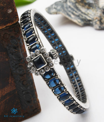 The Samatva Silver Kemp Bracelet (Blue/Oxidised; Size 2.4/2.6)