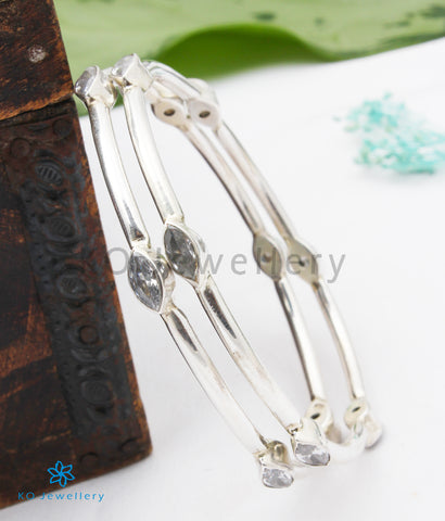The Anaisha Silver Gemstone Bangle- White(Size 2.4/2.5)