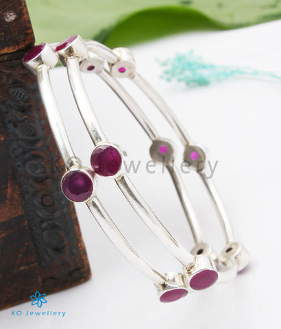 The Kimaya Silver Gemstone Bangle (Size 2.3)