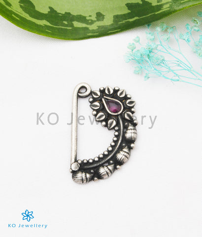 The Kadambini Silver Nath/Nose Pin (Pressing/Clip On)