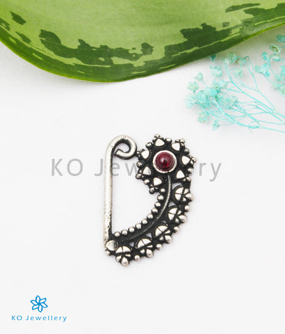 The Parijata Silver Nath/Nose Pin (Pressing/Clip On)