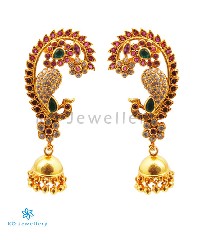 The Amolika Silver Peacock Ear-Cuff Jhumka