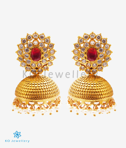 The Diya Silver Kempu Jhumka (Red)