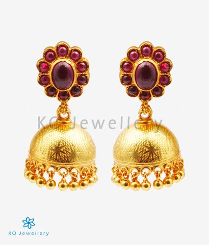 The Vamshika Silver Kempu Jhumka (Red)