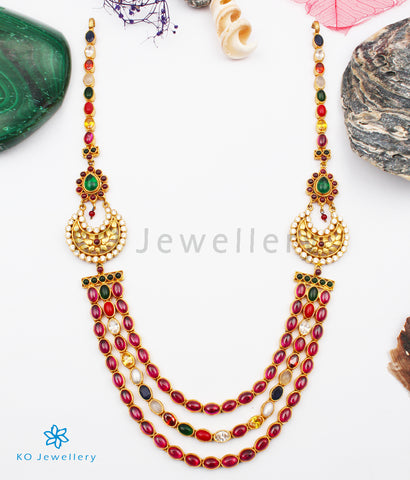 The Rituparna Silver Navaratna Necklace