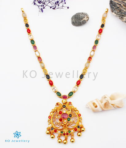 The Sachi Silver Peacock Navaratna Necklace