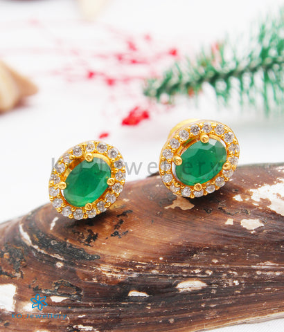 The Amogh Silver Ear-studs (Green)