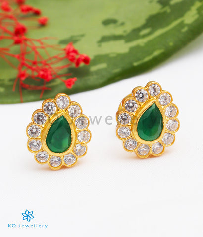 The Deeti Silver Earstuds (Green)