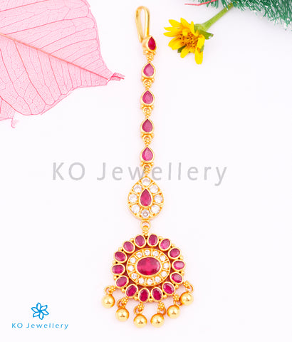 The Isva Silver Bridal Maang Tikka (Red)