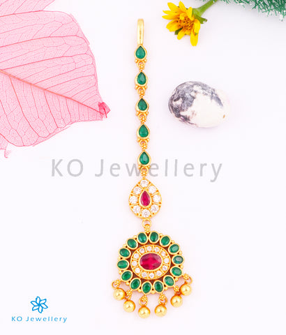The Isva Silver Bridal Maang Tikka (Green)