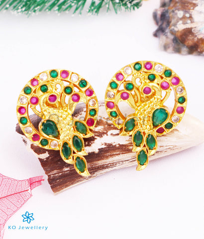 The Mor Silver Ear-studs (Red/Green)