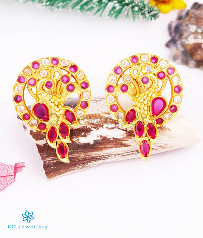 The Mor Silver Ear-studs (Red/White)