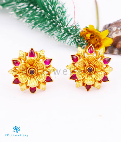 The Vrinda Silver Ear-studs (Red)