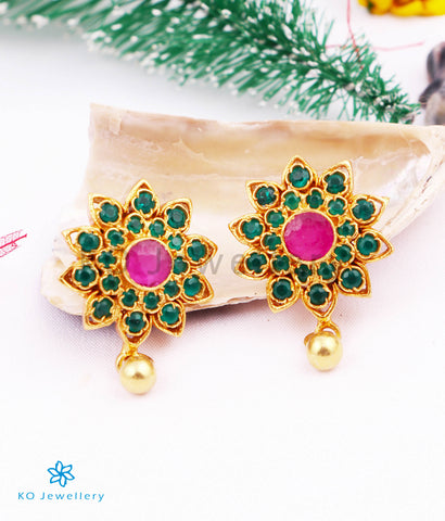 The Isha Silver Ear-studs (Green)