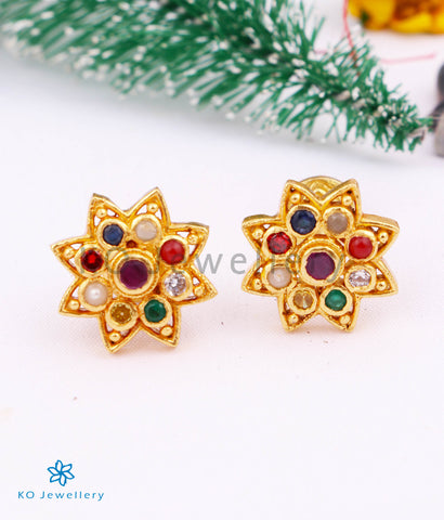 The Vinisha Silver Navratna Ear-studs