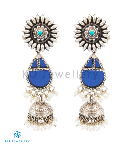 The Nila Silver Jhumka
