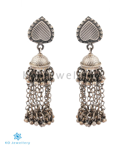 The Daksha Silver Jhumkas