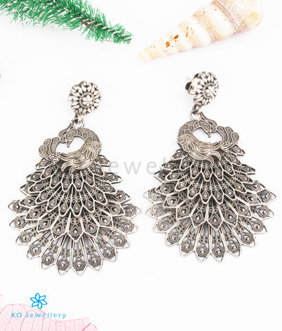 The Yashas Silver Filigree Peacock Earrings