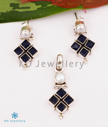 The Misha Silver Gemstone Pendant Set (Dark Blue)