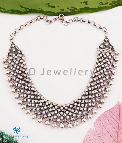 The Urmika Silver Pearl Necklace (4 layers)