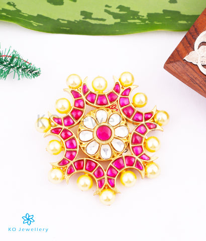 The Ada Silver Kundan Pendant (Red)