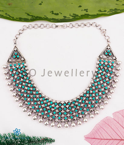The Nilavarna Silver Turquoise Necklace (5 layers)