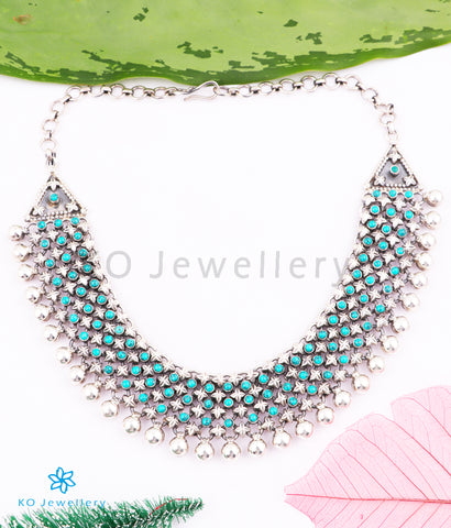 The Nilavarna Silver Turquoise Necklace (4 layers)