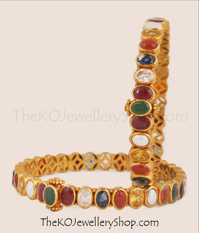 Shop online for women's gold dipped navratna silver bangles jewellery