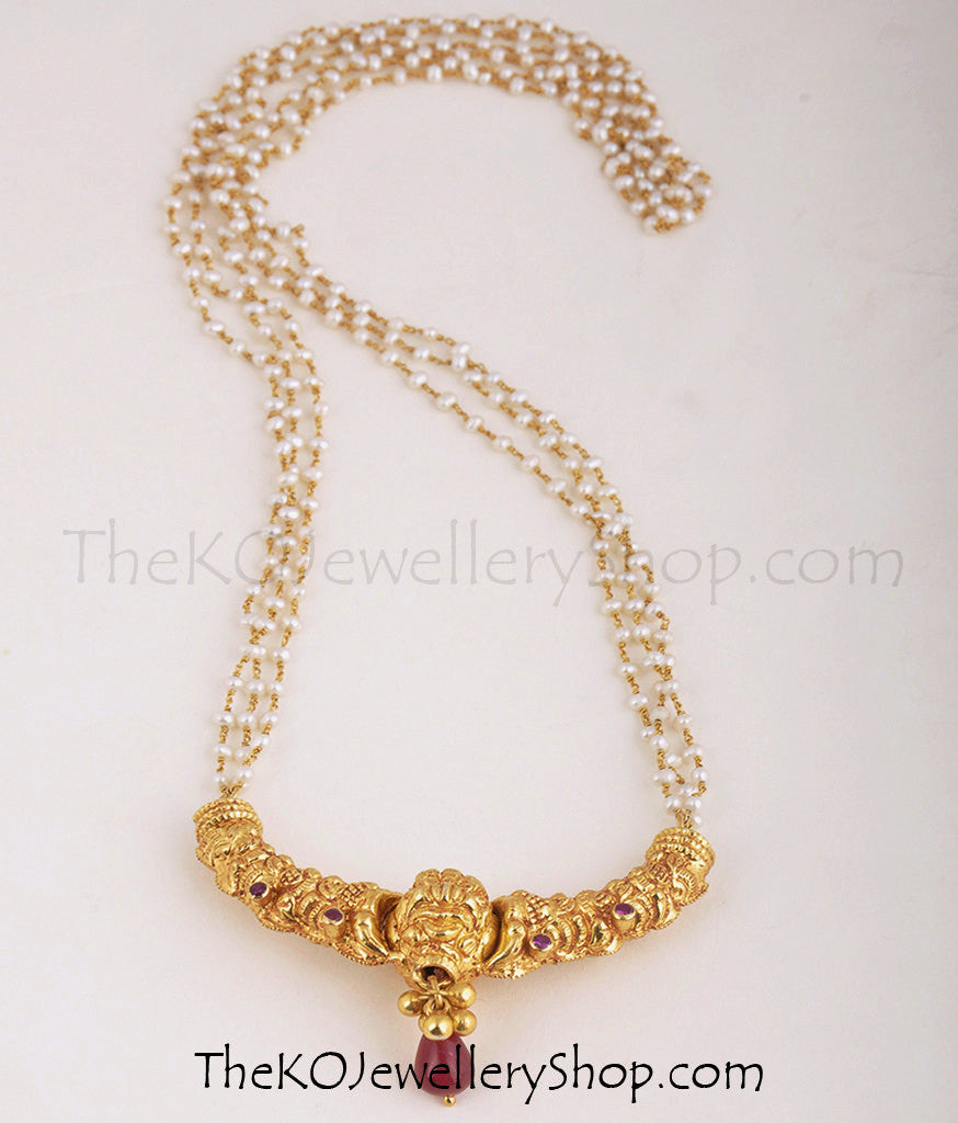 The kanthirava silver pearl necklace buy temple jewellery online gold plated temple jewellery pendant in strings of pearls aloadofball