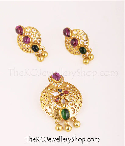 Buy online hand crafted gold dipped  silver navratna pendant set for women